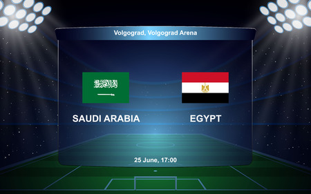 Saudi Arabia vs Egypt football scoreboard broadcast graphic soccer template