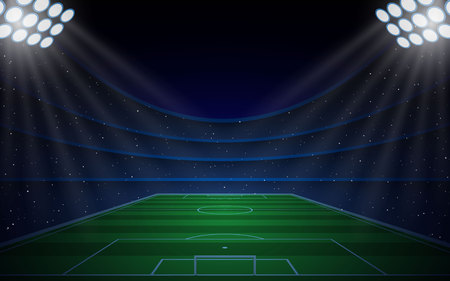 Soccer stadium with bright  lights