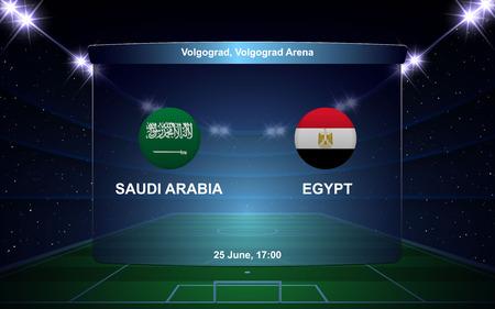 Saudi Arabia vs Egypt football scoreboard broadcast graphic soccer template