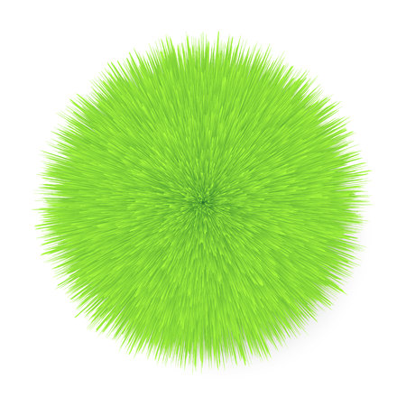 3d realistic green Fluffy  Hair Ball Illustration
