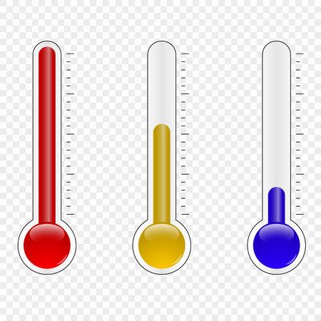Termómetro de temperatura que mide el calor y el frío aislado sobre fondo blanco.
