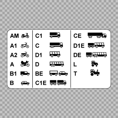 Driver's licenses symbols subdivided into different categories. Stock Illustratie