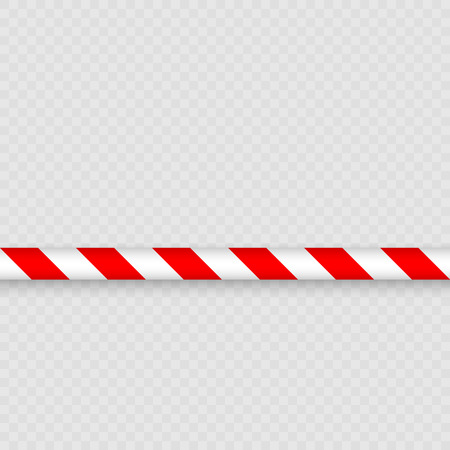 Red and White Lines of barrier tape. warning tape pole fencing is protects for No entry Illustration