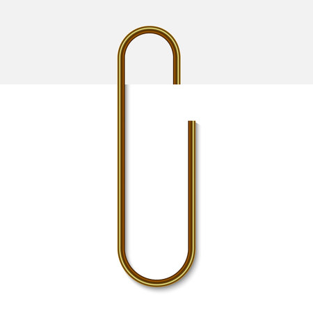 Paper clip on paper. Realistic golden paperclip vector illustration.