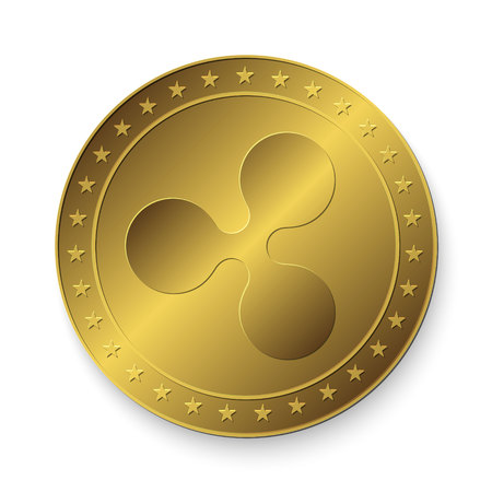 Realistic 3d golden Ripple coin.