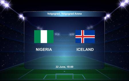 Nigeria vs Iceland football scoreboard broadcast graphic soccer template Stock Illustratie