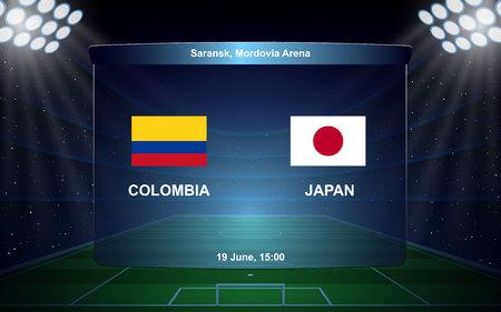 Colombia vs Japan, football scoreboard broadcast graphic soccer template Ilustração