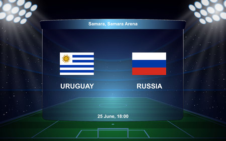 Uruguay vs Russia football scoreboard broadcast graphic soccer template