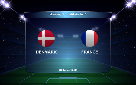 Denmark vs France football scoreboard broadcast graphic soccer template