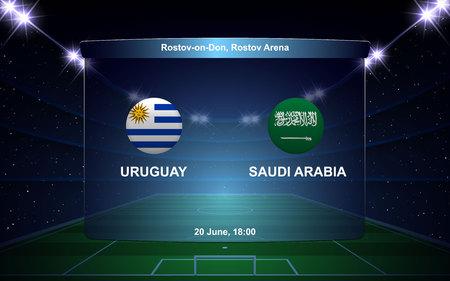 Uruguay vs Saudi Arabia football scoreboard broadcast graphic soccer template Ilustração