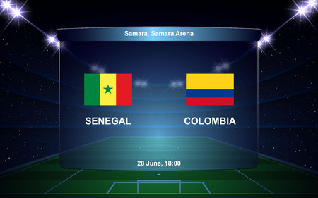 Senegal vs Colombia football scoreboard broadcast graphic soccer template 向量圖像