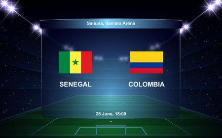Senegal vs Colombia football scoreboard broadcast graphic soccer template Ilustração