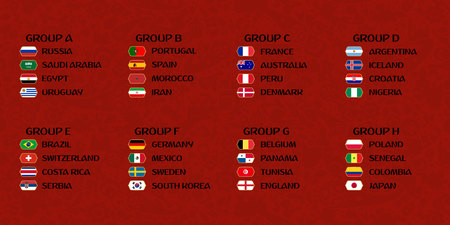 Football cup groups. Vector flag collection.