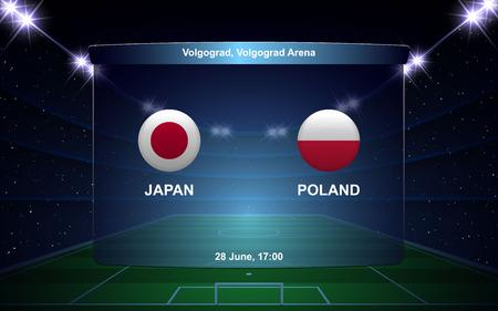 Japan vs Poland football scoreboard broadcast graphic soccer template Ilustração