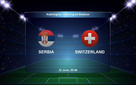 Serbia vs Switzerland football scoreboard broadcast graphic soccer template 向量圖像