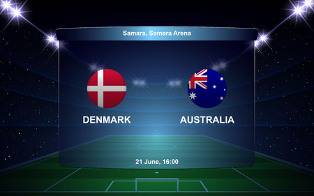 Denmark vs Australia football scoreboard broadcast graphic soccer template