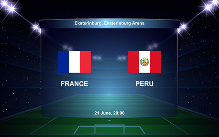 France vs Peru football scoreboard broadcast graphic soccer template