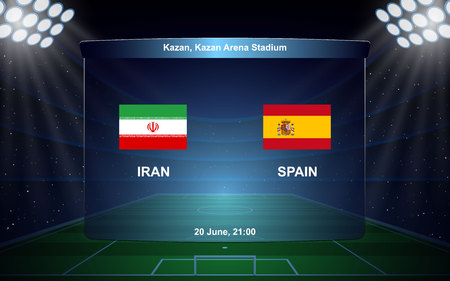 Iran vs Spain football scoreboard broadcast graphic soccer template 向量圖像