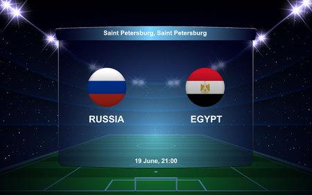 Russia vs Egypt football scoreboard broadcast graphic soccer template