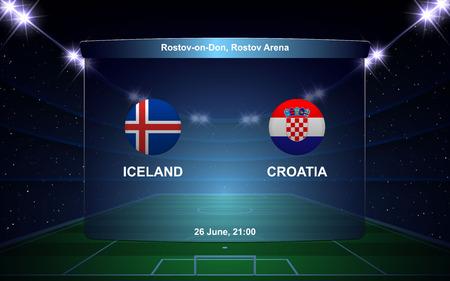 Iceland vs Croatia football scoreboard broadcast graphic soccer template