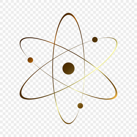 Gold Atom icon. Vector illustration.