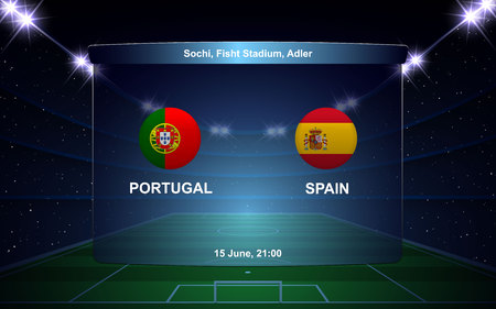 Portugal vs Spain football scoreboard broadcast graphic soccer template 向量圖像