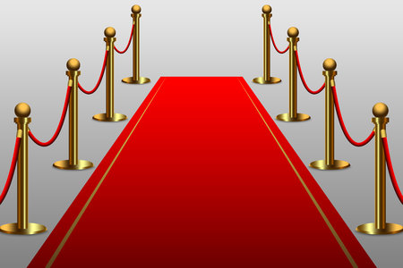 Red carpet for celebrity with rope barrier
