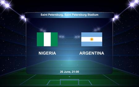 Nigeria vs Argentina football scoreboard broadcast graphic soccer template