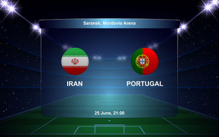 Iran vs Portugal football scoreboard broadcast graphic soccer template 向量圖像