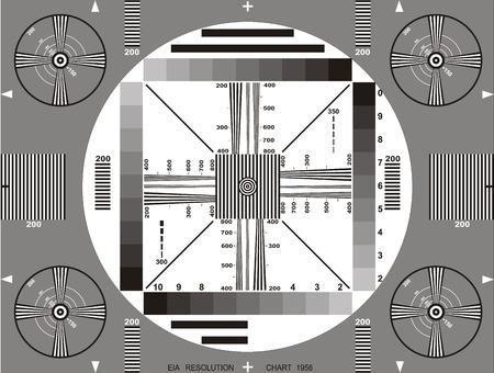 Tarjeta o patrón de prueba de televisión. Gráficos de prueba de resolución de TV