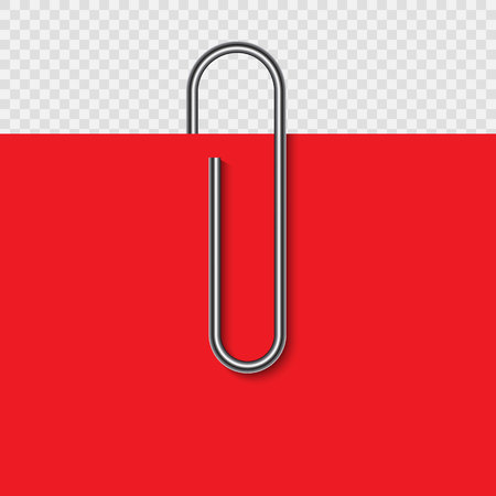 Paper clip on paper. Realistic paperclip vector illustration.