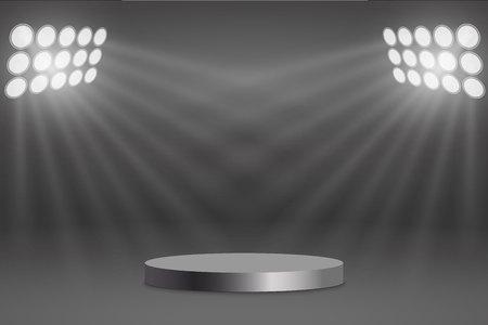 Round podium illuminated by searchlights Stock Illustratie