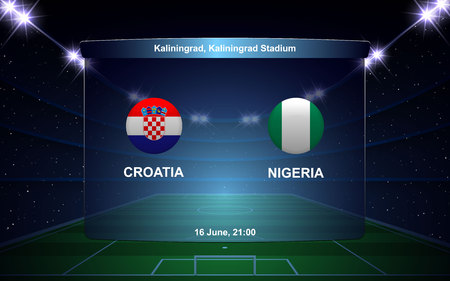 Croatia vs Nigeria. football scoreboard broadcast graphic soccer template