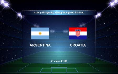 Argentina vs Croatia football scoreboard broadcast graphic soccer template 向量圖像