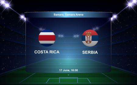 Costa Rica vs Serbia, football scoreboard broadcast graphic soccer template
