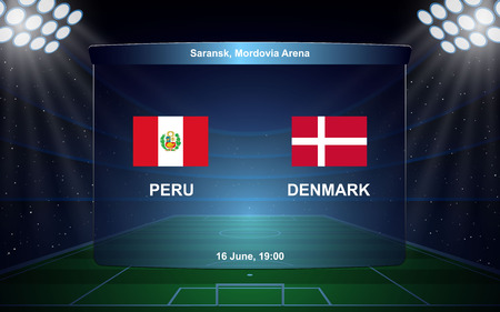 Peru vs Denmark. football scoreboard broadcast graphic soccer template