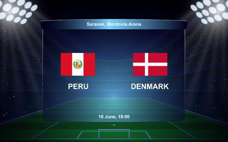 Peru vs Denmark. football scoreboard broadcast graphic soccer template