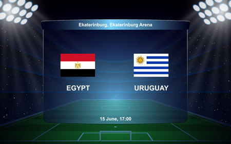 Egypt vs Uruguay, football scoreboard broadcast graphic soccer template