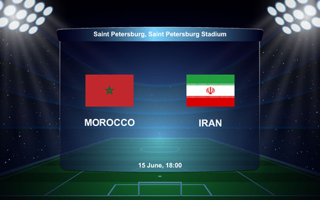 Morocco vs Iran, football scoreboard broadcast graphic soccer template