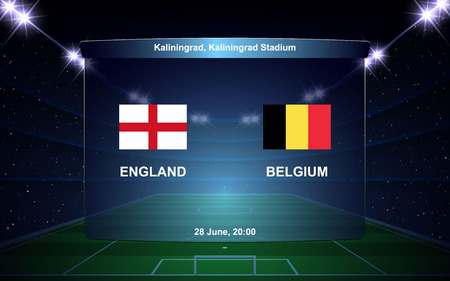 England vs Belgium football scoreboard broadcast graphic soccer template