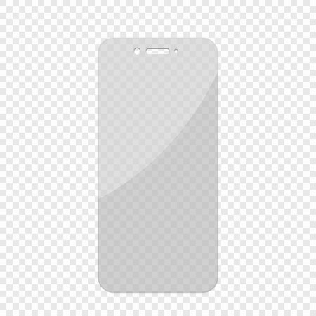 Glass screen protector in transparent background.