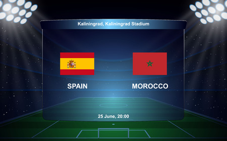 Spain vs Morocco football scoreboard broadcast graphic soccer template
