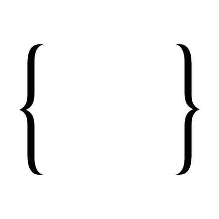 Icona di parentesi graffa. Simbolo di citazione. Illustrazione vettoriale