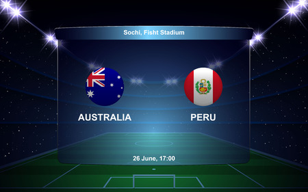 Australia vs Peru football scoreboard broadcast graphic soccer template