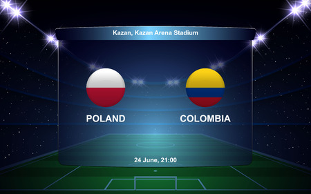 Poland vs Colombia football scoreboard broadcast graphic soccer template Vettoriali