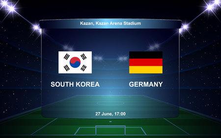 South Korea vs Germany football scoreboard broadcast graphic soccer template