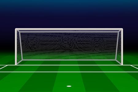 Realistic Football goal on soccer field. Vector illustration Illustration