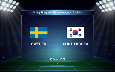 Sweden vs South Korea. football scoreboard broadcast graphic soccer template