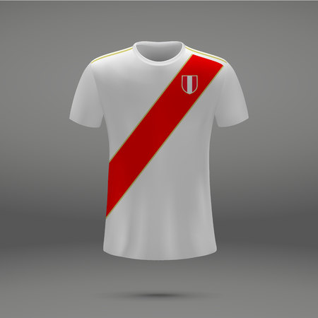 football kit of Peru 2018, t-shirt template for soccer jersey. Vector illustration