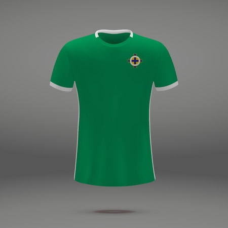 football kit of Northern Ireland 2018, t-shirt template for soccer jersey. Vector illustration